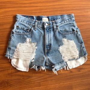 LF Levi's Furst of a Kind Distressed Denim Shorts